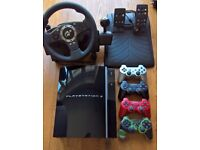 PS3 Console, 4 controllers, Steering Wheel, Lego Dimensions, Disney Infinity, Skylanders, more games