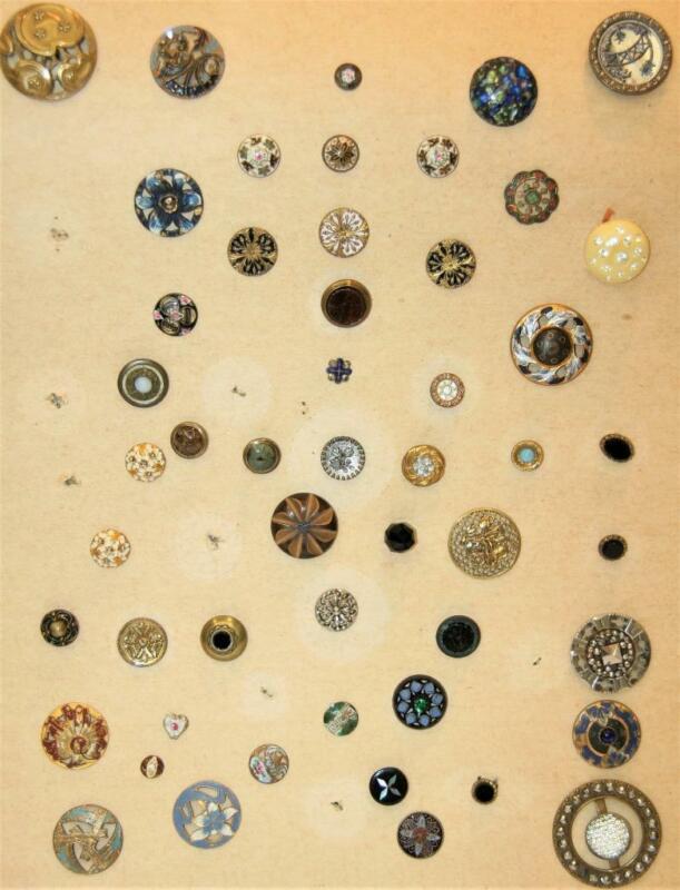 42 Super Variety Antique Diminutive & XL Sewing Buttons, Enamel Cut Steel Gems+
