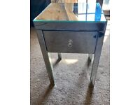Mirrored glass drawer bedside table furniture