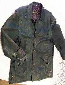 Leather coat (Reward, London), Gents 3/4 length, dark green, M/L