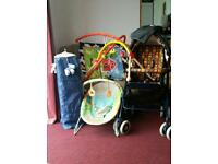 Travel cot and pram plus extras