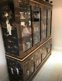 """72"""" Chinese/Oriental Mother of Pearl Buffet And Display Cabinet"""