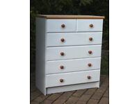 Solid Pine - Painted Chest of Drawers - 2 over 4 - Shabby Chic