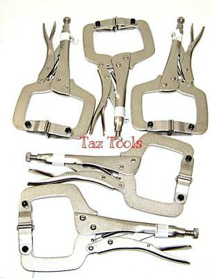 "11"" 2 in 1 Locking C Clamps 5 pcs set dual tip With Pad And Regular End tip H-D"