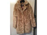 Lipsy light tan faux fur coat size 8