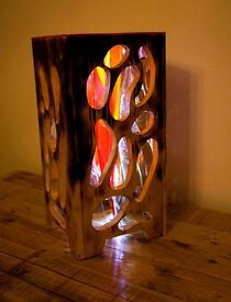 Unique hand made wood Lamp , Art