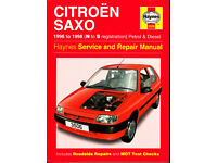 HAYNES CITROEN SAXO SERVICE & REPAIR MANUAL COVERS 1996 to 1998 PETROL & DIESEL