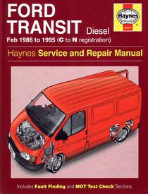 HAYNES FORD TRANSIT DIESEL SERVICE REPAIR MANUAL 1986 to 1995 (N Reg)