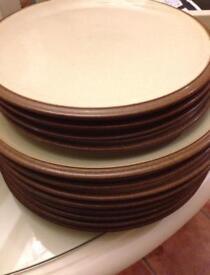 DENBY 8 x Dinner Plates & 4 x Salad Plates in Cinnamon