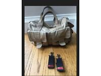 Storksak Leather Change Bag with buggy clips RRP£200