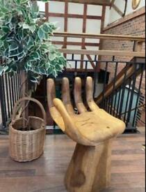 Wooden carved hand chair