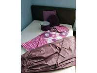 Bedroom set - curtains, 2 duvet covers and pillowcases, cushions, vase, curtains