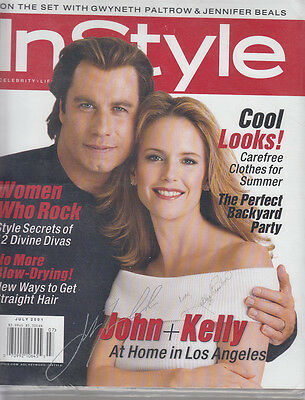 John Travolta & Kelly Preston Signed In Style Magazine July 2001