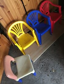 Set of colored plastic toddler chairs