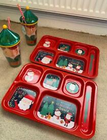 2 kids Christmas dinner plates and cups