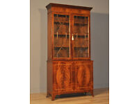 Attractive Large Vintage Inlaid Mahogany Glazed Door Tall Bookcase Cabinet