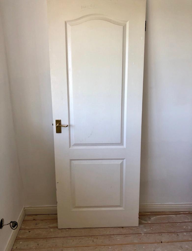 white wood door. Internal White Wooden Doors - With Handles And Hinges (x8) Wood Door