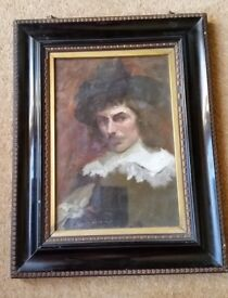antique oil painting in original ebony frame, 19th century listed artist, double sided