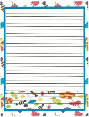 Kid's Candy lined Stationery Paper 26 Sheets  - Children's Stationery
