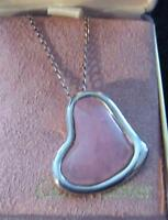 PINK HEART SILVER  NECKLACE
