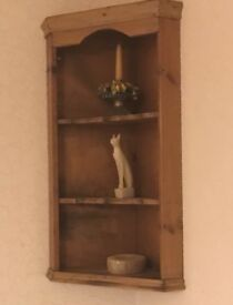 Solid Pine Corner Wall Mounted Three Shelved Unit - £15