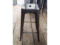 Cafe/restaurant/bistro brushed steel bar stools x 7