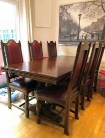 Jaycee, Solid Oak dining table + 6 chairs and matching dresser.