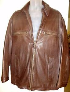MENS 42 44 LARGE BROWN LEATHER JACKET CHERESKIN CANADA Heavy High Quality