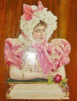 New German Victorian Paper Scrap Beautiful Lady in Easter Bonnet