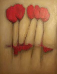 """Oakville Large Art Oil Painting Red Flowers Orig 36x48"""" THICK Canvas 1.5"""" thick wrapped"""