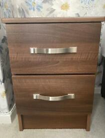 Two drawer bedside tables x2