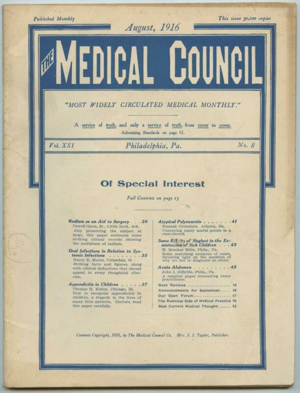 August 1916 Philadelphia Medical Council Journal Medicine Doctors Trade Magazine