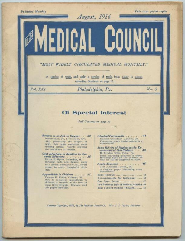 August 1916 Philadelphia Medical Council Journal Medicine Doctors Trade Magazine