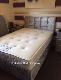 Crushed Velvet Complete Divan Bed