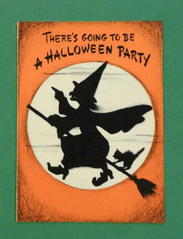 Vtg 1950s 60s Hallmark Halloween Party Invitation Card Witch Cat Broom Envelope