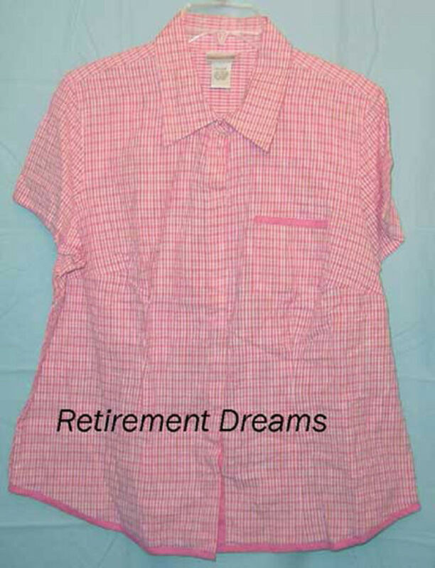 Fashion Bug Shirt 14 14W 16 16W W Pink orange Plaid NEW Womans Plus