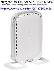 Netgear DM111P ADSL2+ modem for Acanac, Teksavvy, ebox plans up to 15m/1m . Wired modem , no Wifi function.