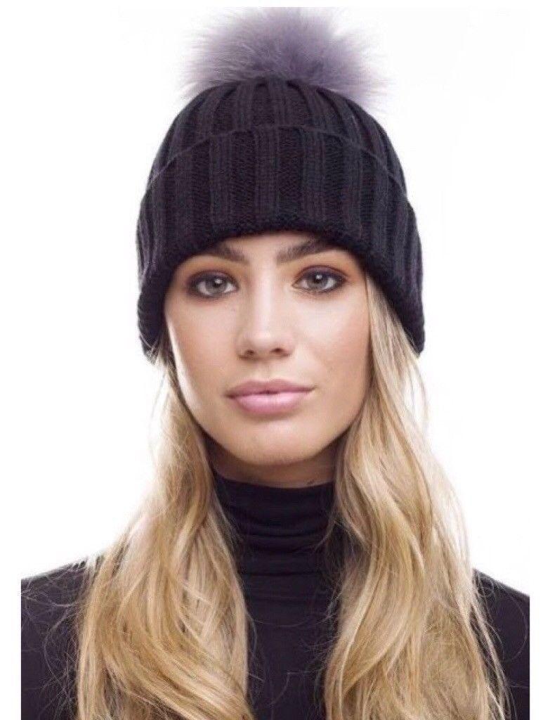f7f9034f35c New Ladies Fur Rib Knit Bobble Hat In Black With Light Grey Fur