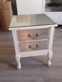 Glass Drawer Mirror Top Bedside Cabinet - Excellent Condition