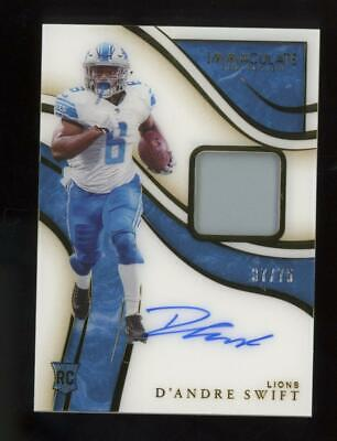 2020 Panini Immaculate RPA D'Andre Swift 37/75 Auto Jersey RC Rookie