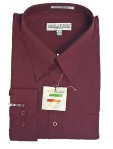 New-Daniel-Ellissa-Mens-Fashion-Dress-Shirt-Burgundy-Red-DS3001