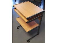 Metal framed wooden computer desk with side shelf
