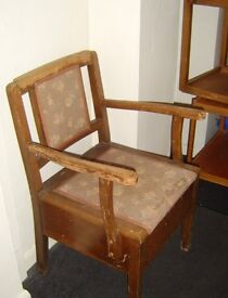 Antique commode chair, looks like oak and very old