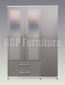 Beatrice 3 door 2 drawer mirrored wardrobe grey and white