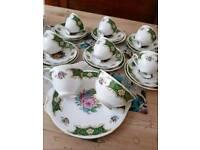 Vintage tea set bone china bright colours