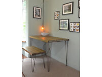 Industrial Kitchen Table and Bench Mid Century Style hairpin UK MAINLAND DELIVERY