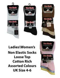 360 Pairs Womens Ladies Non Elastic Diabetic Comfort Socks Loose Top Size 4-6 Wholesale Clearance