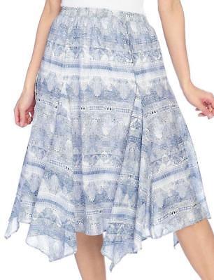 (NEW - Kate & Mallory Printed Woven Elastic Waist Godet Detailed Uneven Hem Skirt)