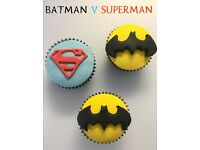 24 Batman & Superman Childrens Birthday Party Cupcakes - Boxed & Ready to Take Away