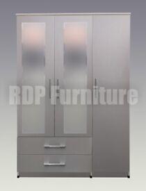 Beatrice 3 door 2 drawer mirrored wardrobe grey